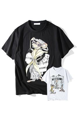 【モスキーノ MOSC*INO】  ネーム有り 高品質 メンズ レディース 半袖Tシャツ aat4173